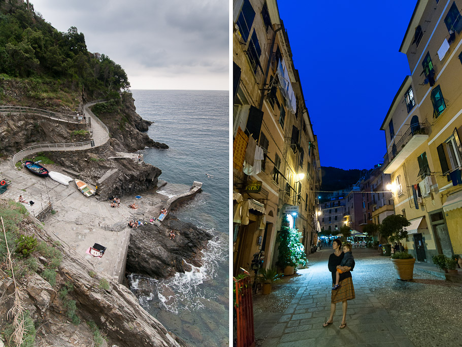 Hiking Trail and Vernazza Street at Night