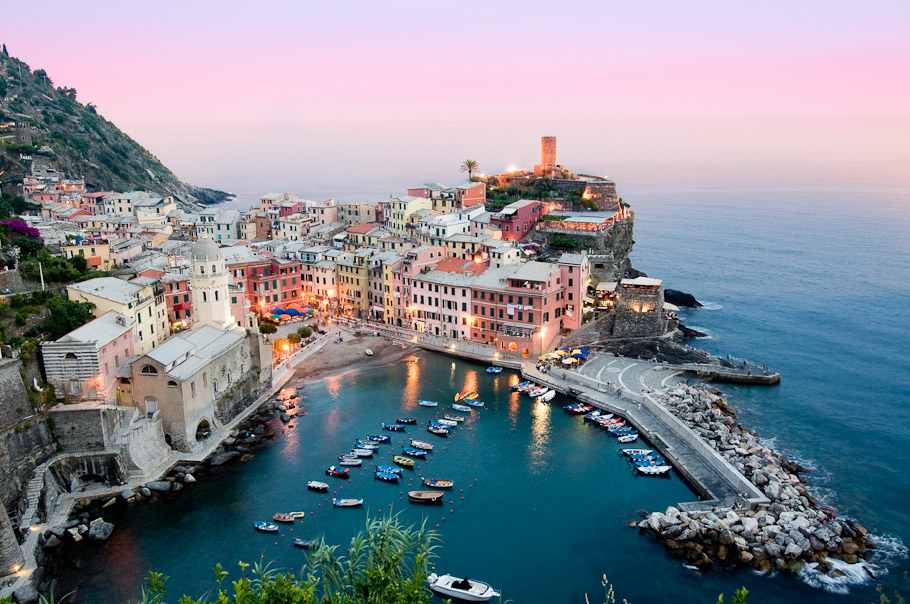 A View of Vernazza at Dusk from a Hiking Trail