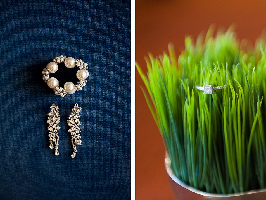Wedding ring on cup of grass and jewelery