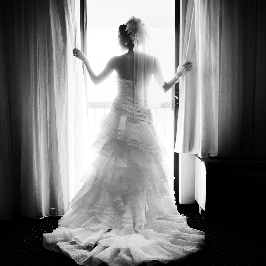 Bride in a gorgeous wedding dress