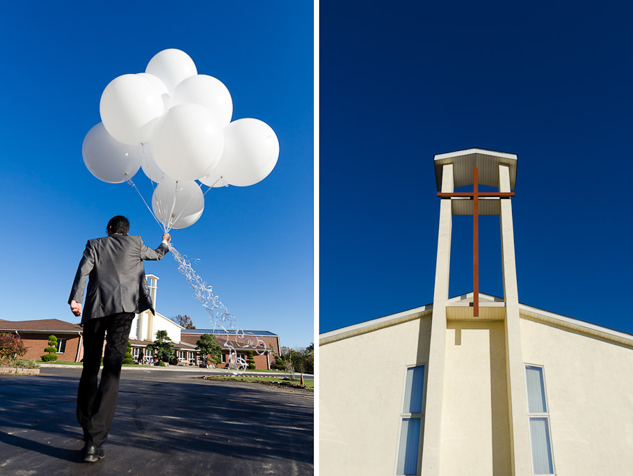 Bride's brother carrying balloons back into church