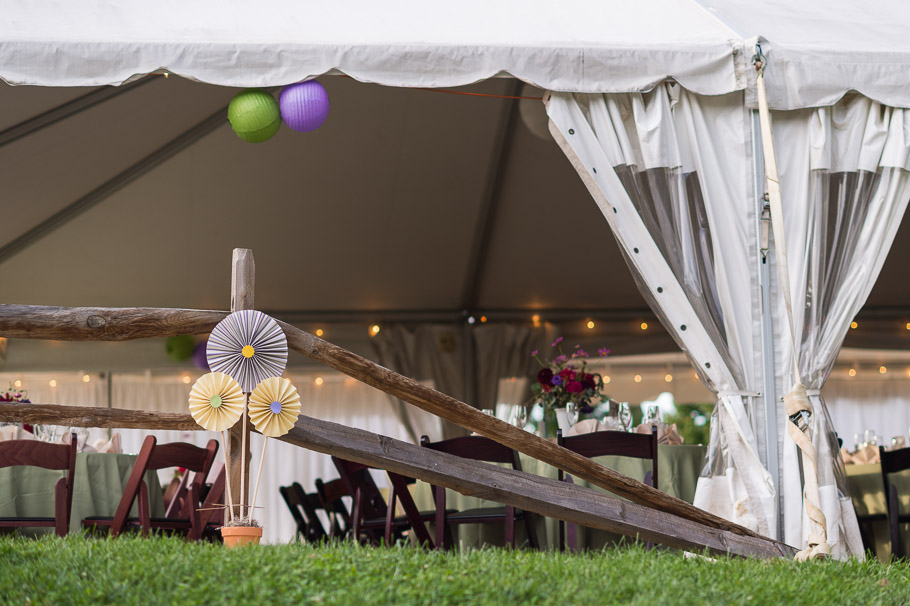 Side view of the reception tent