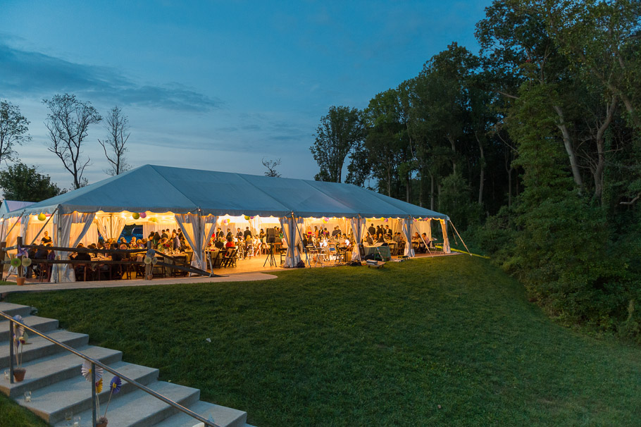 Reception tent at dusk